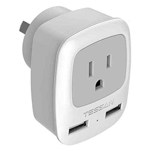 China Australia New Zealand Power Plug Adapter, TESSAN AU Travel Adaptor 3 in 1 US Grounded Outlet with 2 USB Ports for USA to Australian New Zealand Fiji Argentina (Type I)