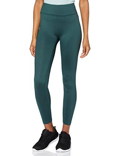 Marca Amazon - AURIQUE Leggings de Deporte con Textura Piel de Serpiente Mujer, Azul (Teal Teal), 40, Label:M