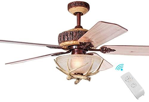 52-in Fandelier Ceiling Fan Antlers Chandeliers Fan Light Frosted Glass Lamp Shade Reversible Motor Fan Indoor Noiseless Fan with 2 Lights Chandeliers Fandelier for Bedroom
