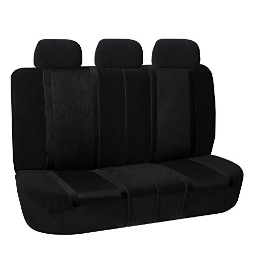 FH Group FB070013 Sports Seat Covers (Black) Rear Set – Universal Fit for Cars Trucks & SUVs
