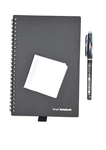 Dreiklang wiederverwendbares smartes Notizbuch Schreibblock, schwarz, Exekutive DIN A 5, Linien und Punktraster, inklusive Stift und Microfasertuch