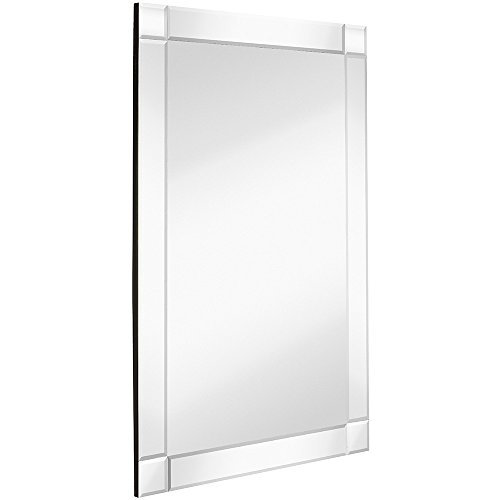 "Hamilton Hills Large Squared Corner Beveled Mirror on Mirror Frame | Premium Silver Backed Glass Panel | Vanity, Bedroom, or Bathroom | Mirrored Rectangle Hangs Horizontal or Vertical (24"" x 36"")"