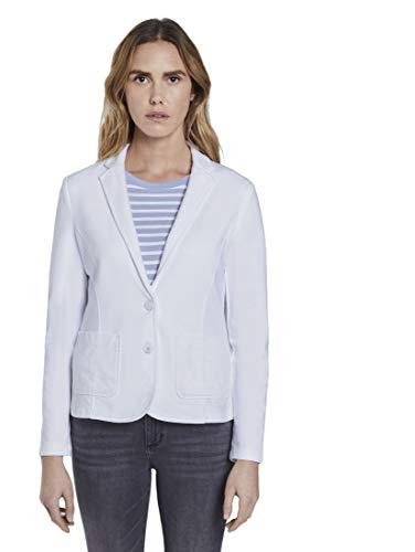 TOM TAILOR Damen Blazer & Sakko Sweat-Blazer mit Farbwaschung White,M
