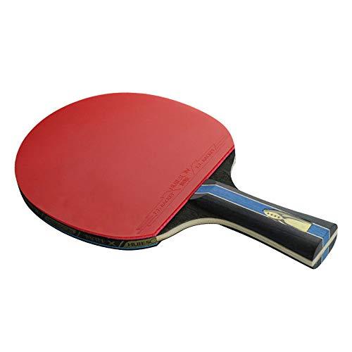 ZJH Murciélago de Tenis de Mesa de Goma, Paleta de Ping Pong de Paleta de Ping-Pong de Madera de 7 Capas,Shorthandle
