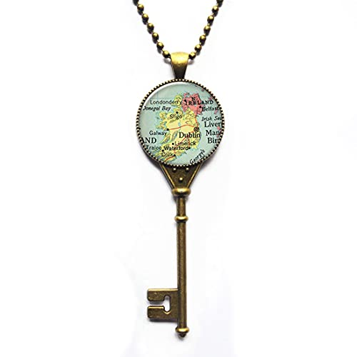 Ireland map Pendant Charm, Ireland Key Necklace Resin Pendant,Glass Photo Cabochon,Irish Jewellery,Ireland map Jewelry,PU228