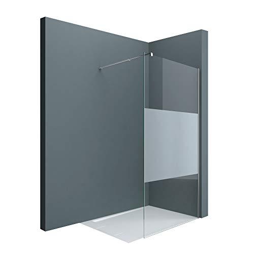 doporro Luxus Duschwand Duschabtrennung Bremen1MS 140x200 Walk-In Dusche mit Stabilisator aus Echtglas 8mm ESG-Sicherheitsglas Klarglas inkl. Nanobeschichtung