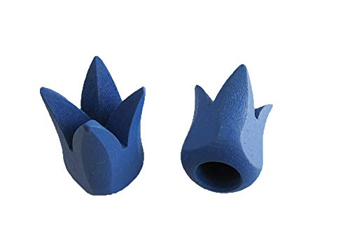 2 Endstücke TULPE Holz für Stil Ø 12 mm, blau