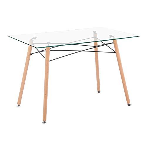 IPOTIUS Tavolo da Pranzo in Vetro Rettangolare Stile Nordico Tavolo da Cucina Scandinavo,110x70x75cm
