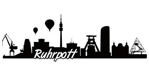 Samunshi® Ruhrpott Skyline Aufkleber Sticker Autoaufkleber City Gedruckt in 7 Größen (20x6,5cm schwarz)
