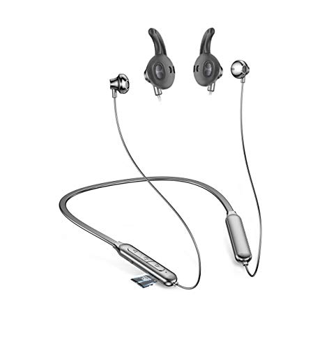 Wireless Neckband Headphone Bluetooth Headset 20H Playtime Can Install 64GTF Card V5.0...