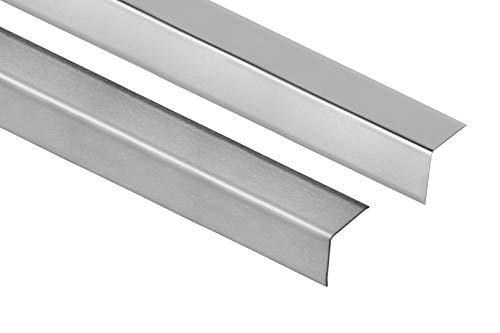 HEXIM 16mm Winkelprofil für Innenecken Sparpakete - Fliesenschienen in silber gebürstet & glänzend - 15 Stück = 30 m á 2,00 m (silber gebürstet)