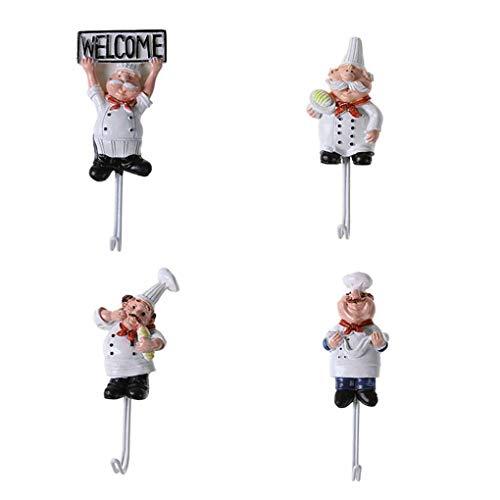 Fangfeen 4pcs Prueba de óxido de Dibujos Animados Chef de Acero Inoxidable pegajoso Gancho Ganchos de baño Toalla de Cocina Ropa Escudo Sombrero Percha