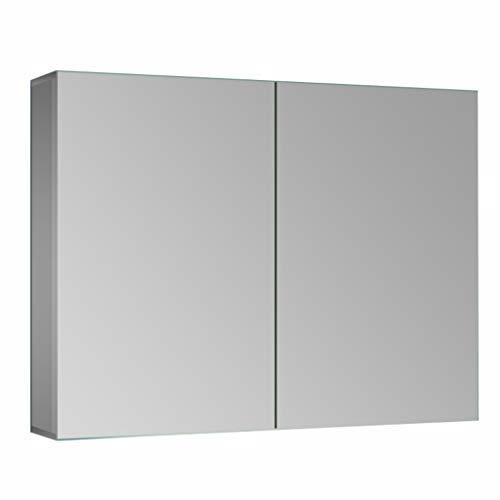 Spiegelschränke Zweitüriger Badezimmerspiegelschrank Aus Aluminium Mit Hellem, Hochauflösendem, Doppelseitigem (Color : Silver, Size : 60 * 12 * 70cm)