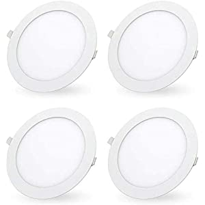 7 Inch 18W LED Recessed Ceiling Light, LED Recessed Lighting Retrofit 6000K Daylight White Ultra-Thin LED Ceiling Can Light Downlight Easy Installation 4 Pack