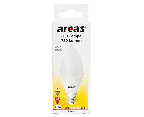 Arcas - Bombilla LED (E14, 8 W, 5000 K, 6 W, plástico), diseño de vela, color blanco