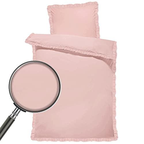 Baby Bettwäsche Set - Kinderbettwäsche Babybettwäsche mit Kissenbezug 40x60 aus Baumwolle (Rosa mit Rüschen, 100 x 135 cm)
