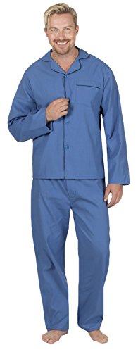Hombre Largo Tradicional Pijama 2 Piezas Clásico Set Hospital Top + Pantalones Ropa De Noche Para Dormir Talla S - XXL - sintético, Liso Azul Marino, 35% algodón 65% poliéster 65% poliéster, hombre, Large