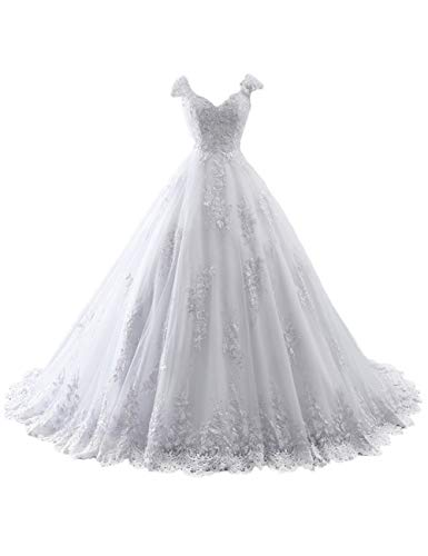 Brautkleider Lang A-Linie Hochzeitskleider Spitzen V-Ausschnitt Brautmode Partykleider mit Schleppe Weiß 48