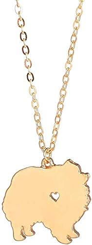 LKLFC Collar de Oro, 1 Pieza, Collar de Pomerania, Raza de Perro, Mascotas, Perro, Regalo conmemorativo, Cachorro para Amante, Collar con Colgante, Regalo para Mujeres, Hombres, niñas, niños