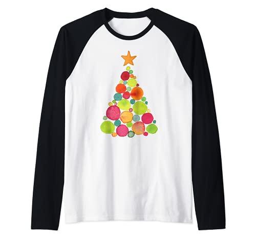 Hübsch gemaltes Aquarell Weihnachtsbaum Feiertag Raglan