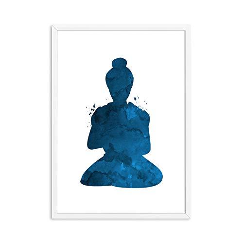 N / A Meditation Rahmenlose Leinwand Malerei Abstrakte Buddha-Statue Lotus-Poster Buddha-Statue Buddhistischer Druck Poster Wohnzimmer Home Decoration Wandkunst B1 40x60cm Kein Rahmen
