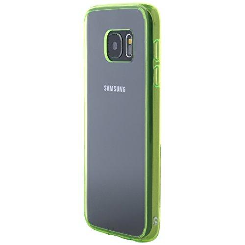 Ultratec Funda protectora híbrida para smartphone / carcasa con borde de TPU de color para Samsung S7, con funda con cremallera, transparente/verde