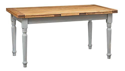 Biscottini Table Extensible en Bois Massif de Tilleul Style Rustique Structure Grise vieillie Plan Naturel L 160 x P 80 x H 80 cm