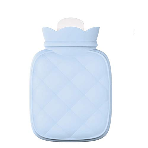Hot Water Bottle Silicone Gel Hot Water Bag Water-Filled Food-Grade Mini-Knitted Bag Portable Hot-Water Bag Care for Women (Color : Blue)