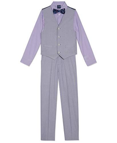 Izod Little Boys 4-Piece Formal Suit Vest Set, Purple Poises, 5