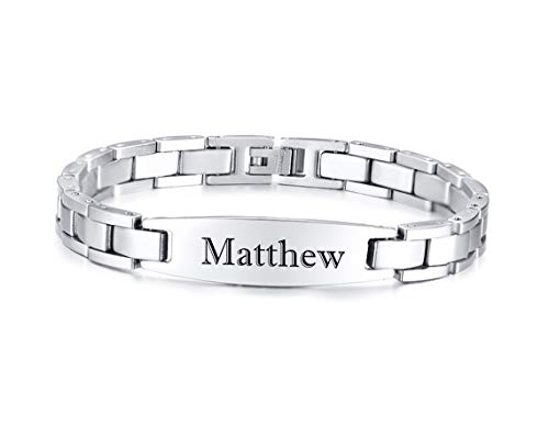 Personalized Stainless Steel High Polished Silver ID Bracelet Custom Engraved Free - Ships from USA