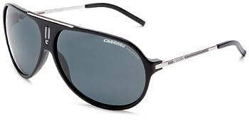 Carrera HOT/S Polarized Pilot Sunglasses Black and Palladium Frame/Grey Lens 64 mm