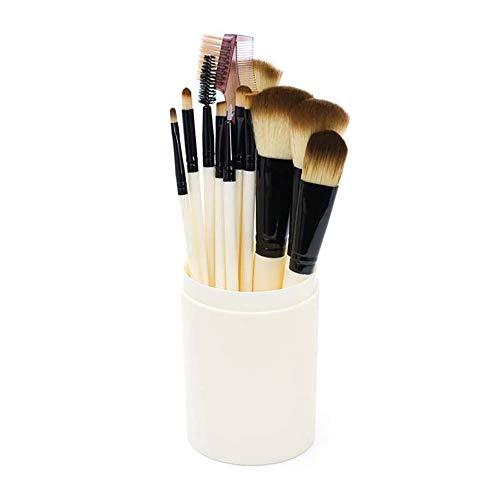 Shewe - Juego de brochas de maquillaje, 12 brochas cilíndricas, juego de brochas de maquillaje, herramientas de belleza (blanco-crema)