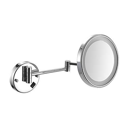 ZSHYP Espejo De Maquillaje con Luz Led De Pared, Espejo Tocador Giro De 360 ° Espejo CosméTico Afeitar Espejos Plegable para Hoteles, Baños,Silver-PoweredByPlug-7x