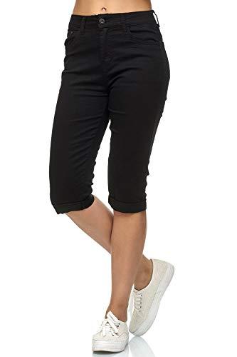 Damen Capri Jeans 3/4 Stretch Bermuda Shorts Big Size Hose, Farben:Schwarz, Größe:40
