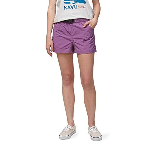 KAVU Elle Quick Dry Shorts with Mesh Pockets, Elastic Waistband, Belt-Plum Beach-S