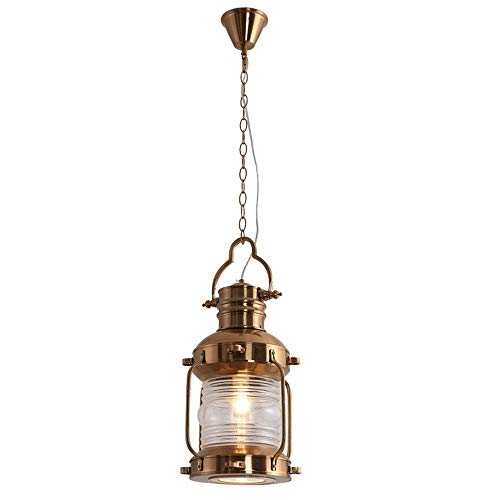 CSD El queroseno retro colgante de luz, lámpara de hierro forjado Linterna Creativa Restaurante Bar Pasillo E27 Colgando Altura ajustable Lámpara antigua, 110-240 (Oro)