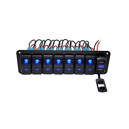 Crying Panel de interruptores de balancín de Barco Marino 8 Kit de Panel de interruptores de rockero de pandillas 12V / 24V Interruptor de Circuito Luz de Ranuras duales (Color : 8 Gang)