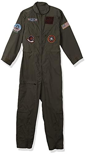 Leg Avenue Women's Plus Size Top Gun Flight Suit with Interchangeable Name Badges Pilot Jumpsuit Halloween Costume for Men, Khaki/Green, 2X