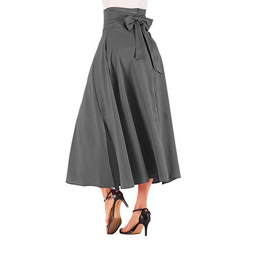 NREALY New Women's High Waist Pleated A Line Long Skirt Front Slit Belted Maxi Skirt(M, Dark Grey)