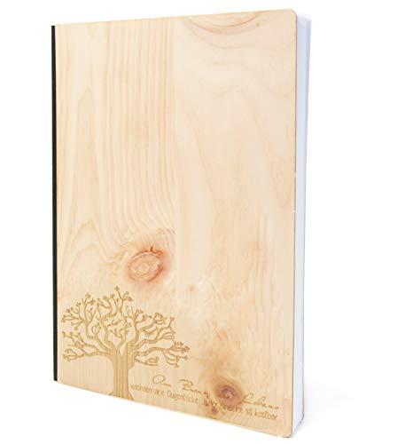 Notizbuch mit Holz Cover in A5 - BAUM DES LEBENS - Echtholz Notebook zum Reinschreiben Zirbenholz Holzeinband 192 blanko Seiten 90g
