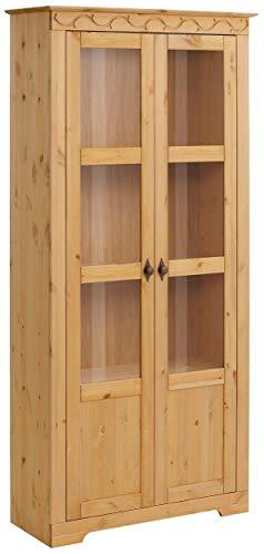 Loft 24 A/S Vitrine Landhaus Vitrinenschrank Standvitrine Glasvitrine Küche Glastür Kiefer massivholz (gebeizt geölt, 2 Türen)