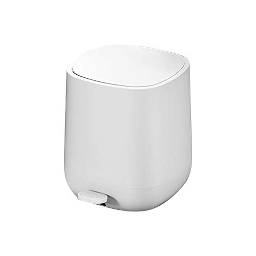 Kitchen Pedal Trash Bin with Hinged Lid and Plastic Inner Bucket, 7L Step Trash Can Bin Rubbish Garbage Can, Soft Close, Odour Proof and Hygienic