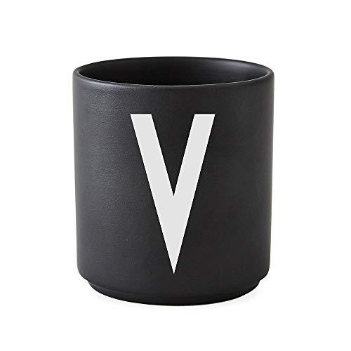 Design Letters Tasse en Porcelaine personnelle A-Z (Noir) - V