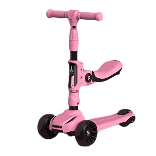 Scooters para Niños Scooters de altura ajustables para niños de 2 a 12 años - Scooter plegable con asiento extraíble, 3 ruedas de luz LED, freno de la rueda trasera Antideslizante Scooter Patinete Niñ