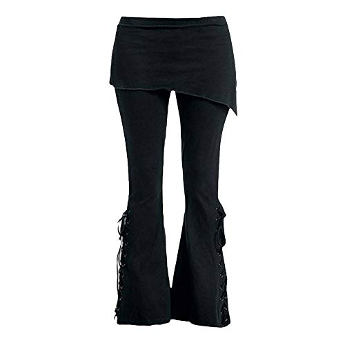 VEZAD Embroidered Casual Bandage Pants Women Flares Punk Lace Up Bell Bottom Leggings Black