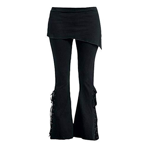 STRIR Pantalón Acampanados Jeans Gótico con Estampado de Flor gótica para...