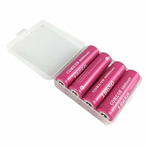 kally 4 Piezas 18650 Batería de li-Ion Lithium Ion de Potencia 4800 Mah 3.7 V Batería de Iones de Litio Especial para Productos electrónicos Recargables (Botón, 4800 Mah * 4)