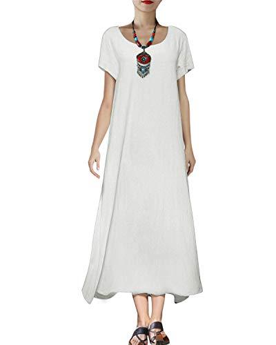 VONDA Sommerkleider Damen Lang Casual Elegant Kurzarm Maxikleider Kaftan Leinenkleid Mit Tasche A-Weiß XXL