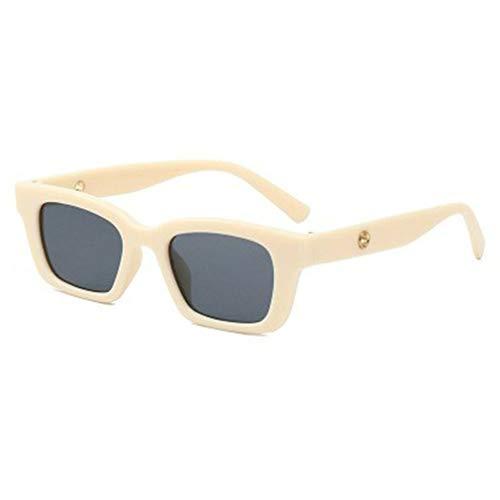 WEQQ Gafas de Sol Vintage rectangulares para Mujer, Gafas de Sol Puntiagudas Retro, Gafas de Ojo de Gato (Beige + Gris Negro)