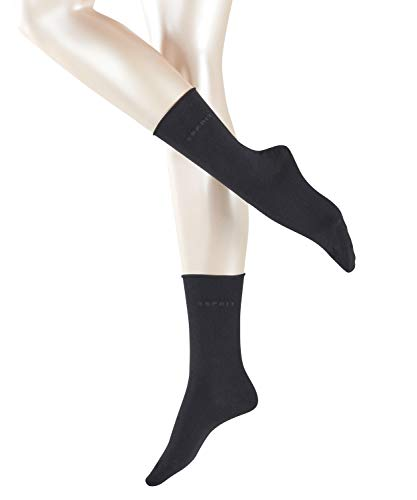 ESPRIT Damen Socken Basic PURE 2er Pack - 91% Baumwolle , 2 Paar, Schwarz (Black 3000), Größe: 39-42